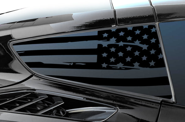 Chevrolet Corvette (2014-2019) Rear Window Vinyl Decal Wrap Kit - Distressed USA Flag