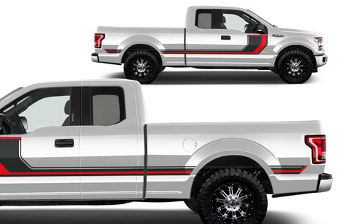 Ford F-150 (2015-2017) Vinyl Decal Wrap Kit - Rally Stripes 2