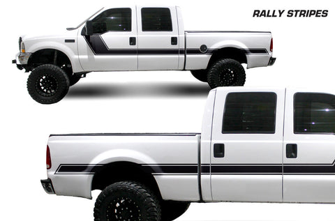 Ford F-250/F-350 (1999-2006) Custom Vinyl Decal Wrap Kit - RALLY STRIPES