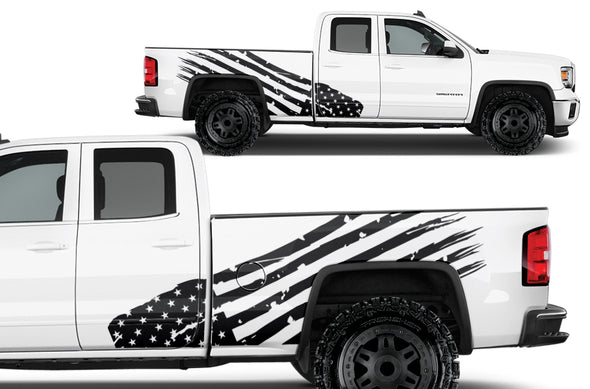 GMC Sierra Vehicle Vinyl Truck Decal Decals Factory Crafts Graphics Custom Black American Flag America