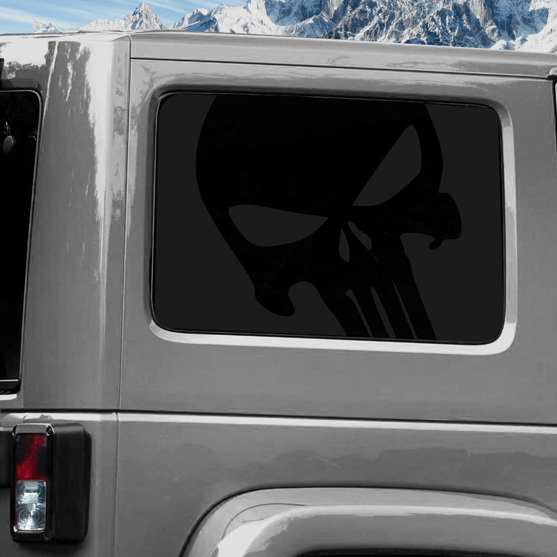 Jeep Wrangler (2011-2020) 4-Door Rear Window Wrap Custom Vinyl Decal Kit - PUNISHER SKULL
