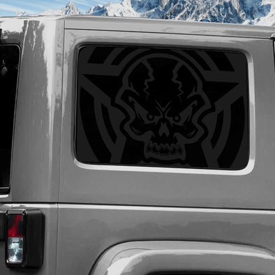 Jeep Wrangler (2011-2020) 4-Door Rear Window Wrap Custom Vinyl Decal Kit - STAR SKULL