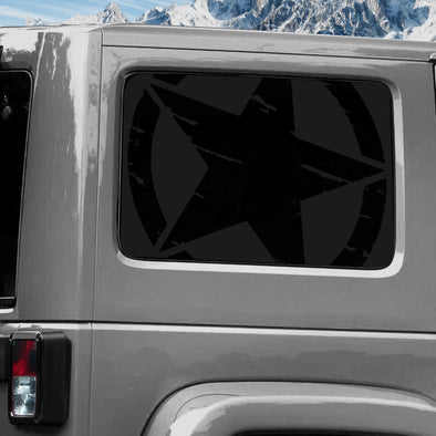 Jeep Wrangler (2011-2020) 4-Door Rear Window Wrap Custom Vinyl Decal Kit - TORN ARMY STAR