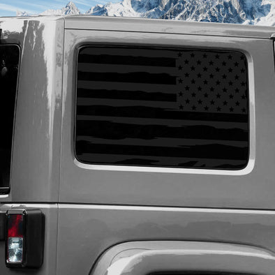 Jeep Wrangler (2011-2020) 4-Door Rear Window Wrap Custom Vinyl Decal Kit - USA FLAG DISTRESSED
