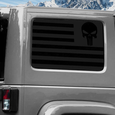 Jeep Wrangler (2011-2020) 4-Door Rear Window Wrap Custom Vinyl Decal Kit - USA FLAG PUNISHER SKULL