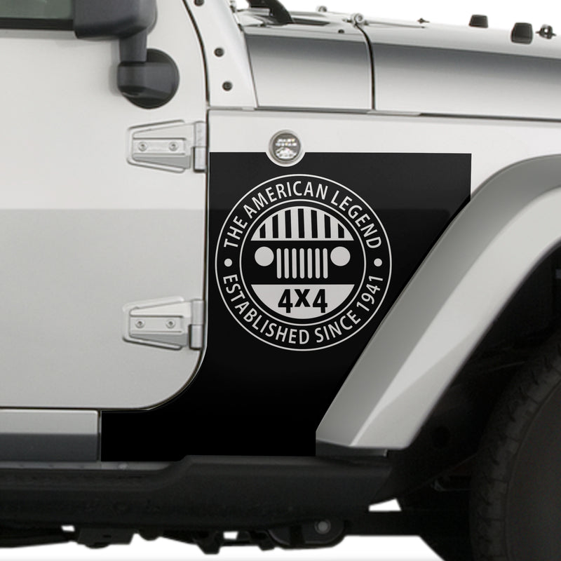 Jeep Wrangler (2007-2020) 4-Door Front Fender Custom Vinyl Decal Kit - AMERICAN LEGEND