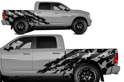 Dodge Ram 1500/2500 (2009-2014) SHORTBOX Custom Vinyl Decal Kit - HALFSIDE SHRED