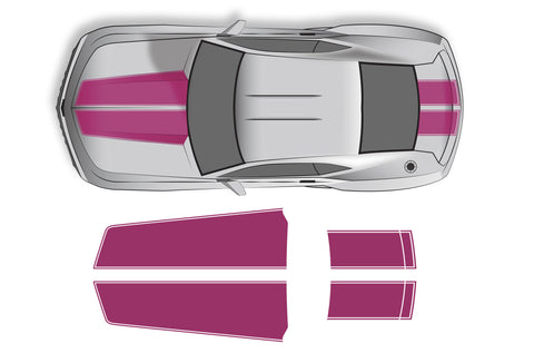 Chevrolet Camaro (2010-2013) Custom Vinyl Decal Wrap Kit - Straight Hood and Trunk Stripes