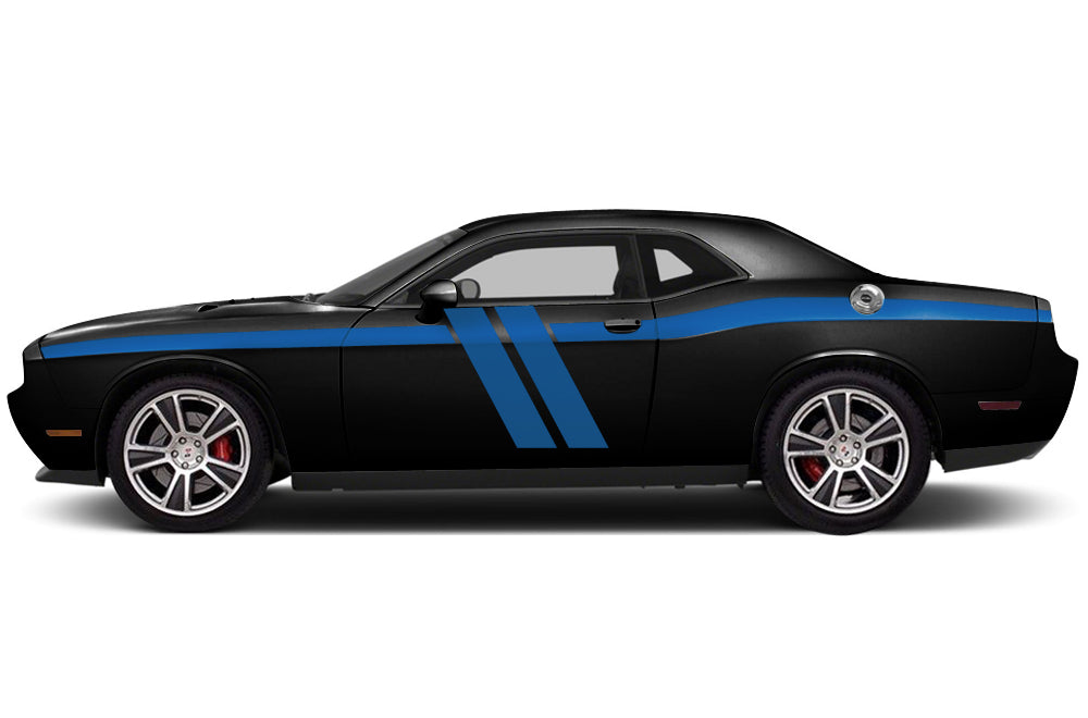 Dodge challenger 2011 2018 custom vinyl decal wrap kit full body hash stripe