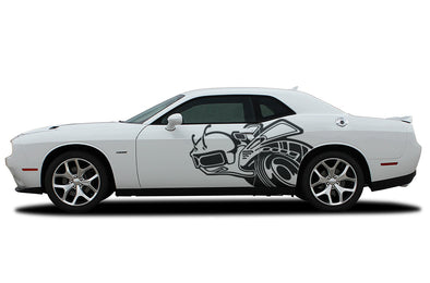 Dodge Challenger Car Vinyl Decal Custom Graphics Black Super Bee Design