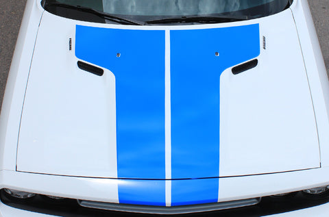 Dodge Challenger (2008-2016) Custom Vinyl Decal Wrap Kit - T-Hood Stripe