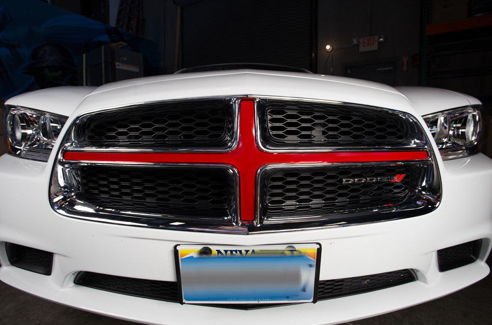 Dodge charger 2011 2014 custom vinyl decal kit grille insert