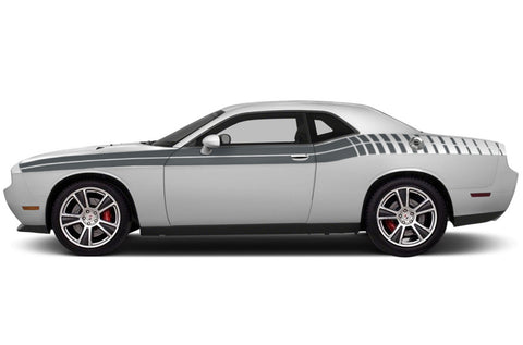 Dodge Challenger (2008-2016) Custom Vinyl Decal Wrap Kit - Full Side Body Gradient Double Stripe
