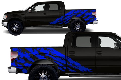 Ford F-150 (2009-2014) Custom Vinyl Decal Kit Short Bed - HALFSIDE SHRED