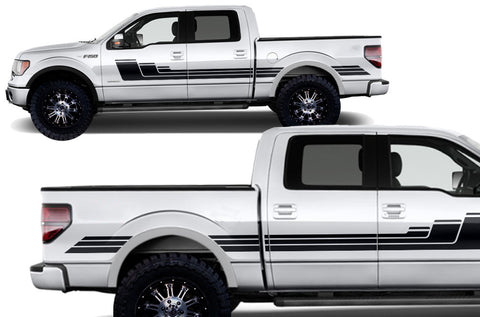 Ford F-150 (2009-2014) Custom Vinyl Decal Kit Short Bed - Rally Stripes 3