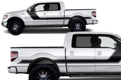Ford F-150 (2009-2014) Custom Vinyl Decal Kit Short Bed - Rally Stripes 2