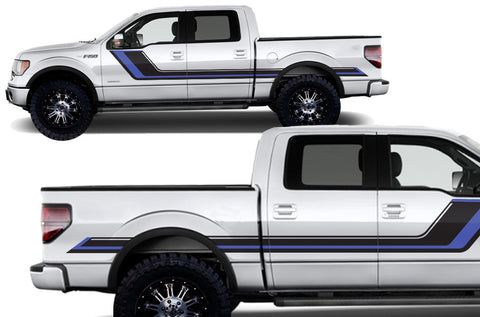 Ford F-150 (2009-2014) Custom Vinyl Decal Kit Short Bed - Rally Stripes