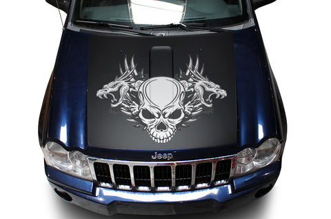 Jeep Grand Cherokee (2005-2007) Custom Vinyl Decal Hood Wrap Kit - Skull Dragon