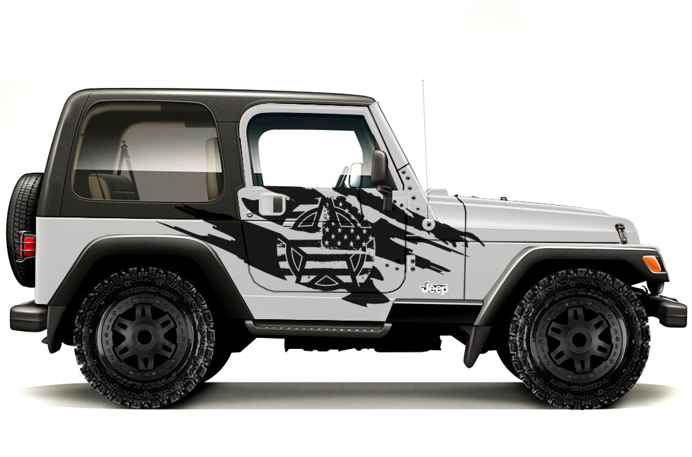 White Black US Army Military Star Car Truck Sticker Decal For Jeep Wrangler