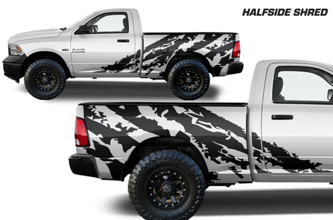 Dodge Ram 1500/2500 (2009-2014) MIDBOX Custom Vinyl Decal Kit - HALFSIDE SHRED
