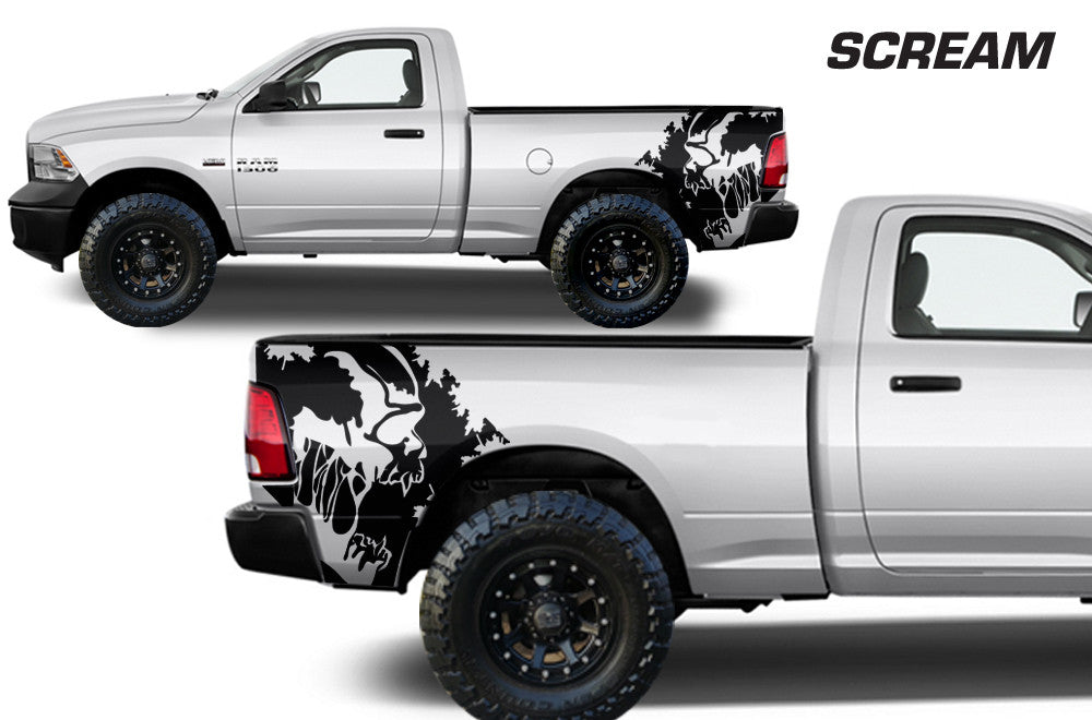 Dodge ram truck 1500 2500 3500 2009 2018 custom vinyl decals scream