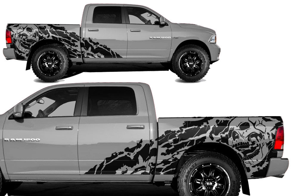 Mini Cooper Matte White >> Dodge Ram 1500/2500 (2009-2018) 5.7 BED Custom Vinyl Decal Kit - NIGHT – Factory Crafts
