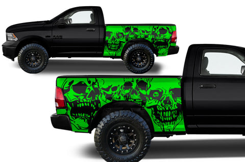 Dodge Ram 1500/2500 (2009-2014) MIDBOX Custom Vinyl Decal Kit - SKULLS