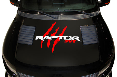 Ford F-150 SVT Raptor (2010-2014) Custom Vinyl Decal Kit - RAPTOR SVT HOOD WRAP - BLACK BASE