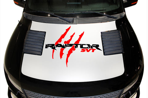 Ford F-150 SVT Raptor (2010-2014) Custom Vinyl Decal Kit - RAPTOR SVT HOOD WRAP - WHITE BASE