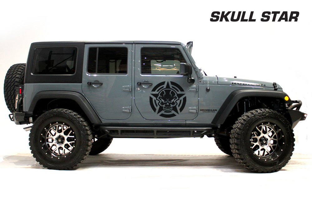 Universal jeep wrangler custom vinyl door decal kit skull star
