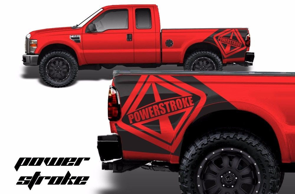 Ford F-250/F-350 (1999-2006) Custom Vinyl Decal Wrap Kit - POWERSTROKE