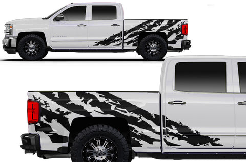 Chevy Silverado (2014-2016) Custom Vinyl Decal Wrap Kit - HALFSIDE SHRED