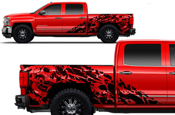 Chevy Chevrolet  Silverado 2014 2015 2016 2017 Truck Decal Vinyl Graphics Black Skull Design