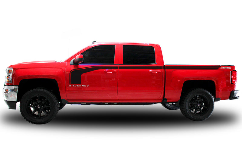 Chevy Chevrolet  Silverado 2014 2015 2016 2017 Truck Decal Vinyl Graphics Black Stripe Design