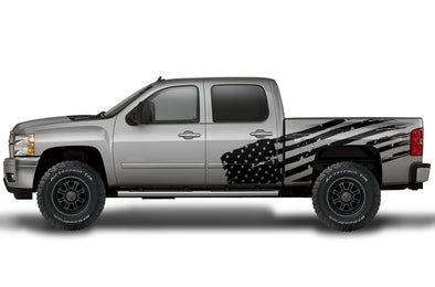 Chevy Chevrolet  Silverado 2008 2009 2010 2011 2012 2013 Truck Decal Vinyl Graphics Black American Flag Design