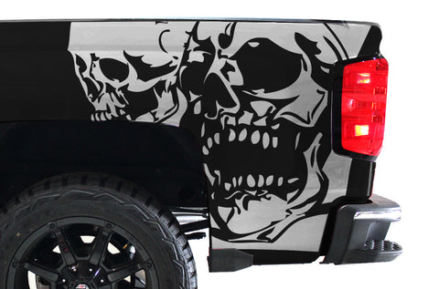 Chevy Silverado (2014-2016) Custom Vinyl Decal Wrap Kit - DOUBLE SKULL