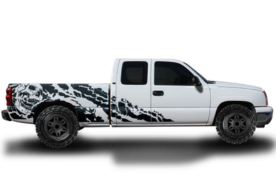 Chevy Chevrolet  Silverado Car Decal Vinyl Graphics Black Skull Design