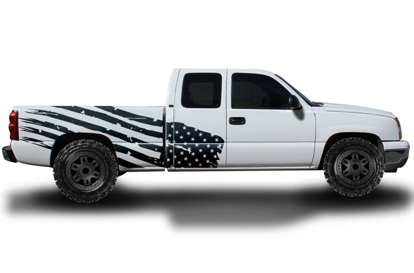 Chevy Chevrolet  Silverado Car Decal Vinyl Graphics Black American Flag Design