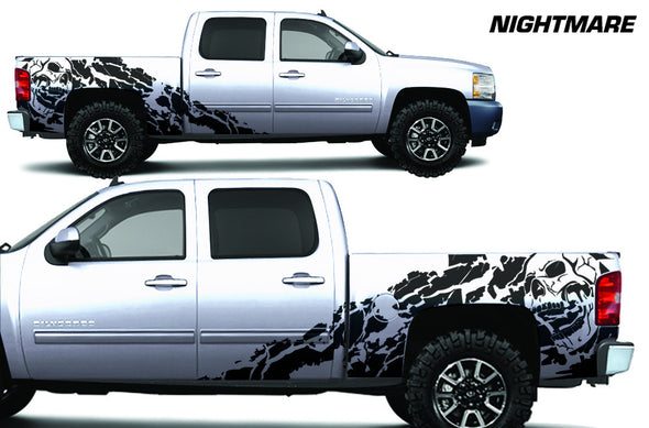 Chevy Chevrolet  Silverado 2008 2009 2010 2011 2012 2013 Truck Decal Vinyl Graphics Black Skull Design
