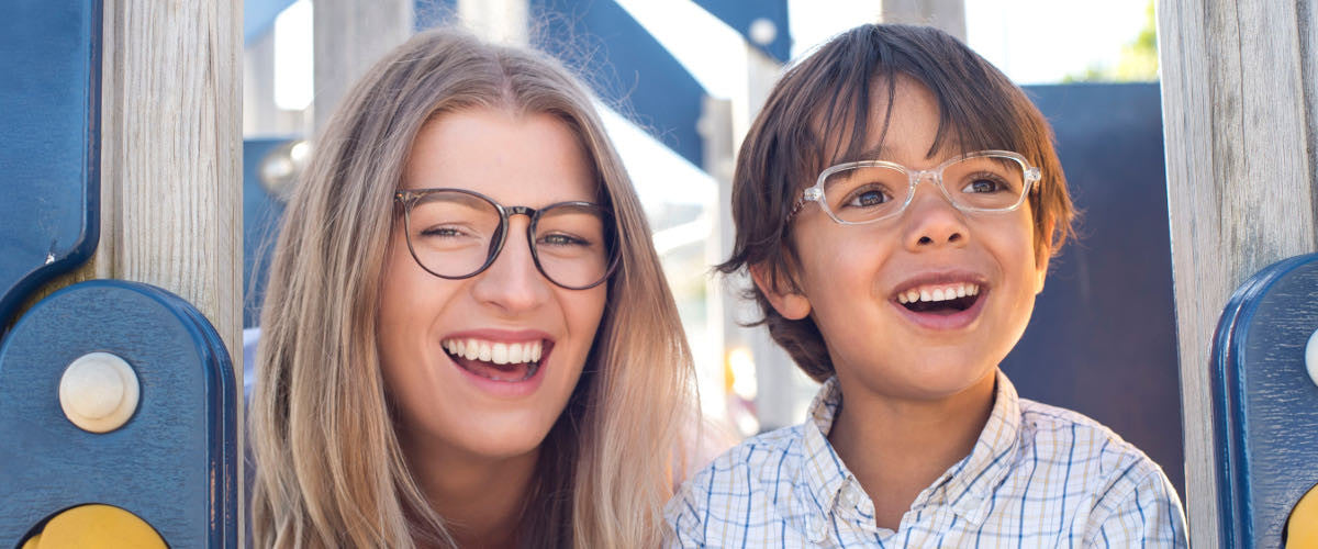 Laughing woman and child both wearing Mr Foureyes glasses
