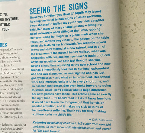 Letter to editor Tots to teens magazine on children's vision