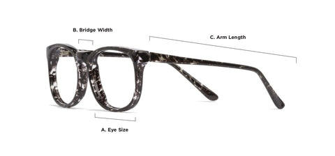 Glasses sizing diagram | Mr Foureyes online prescription glasses