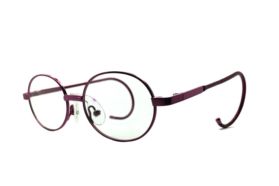 Alex children's glasses frames by Mr Foureyes in purple, angle shot