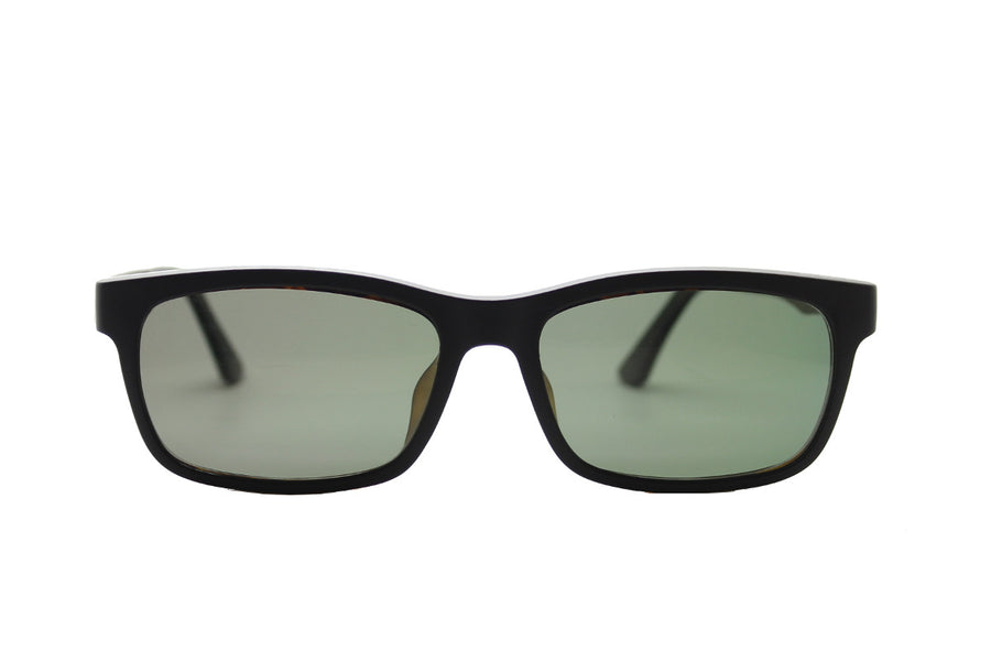 Ashley clip-on prescription sunglasses by Mr Foureyes front shot with grey polarised lenses