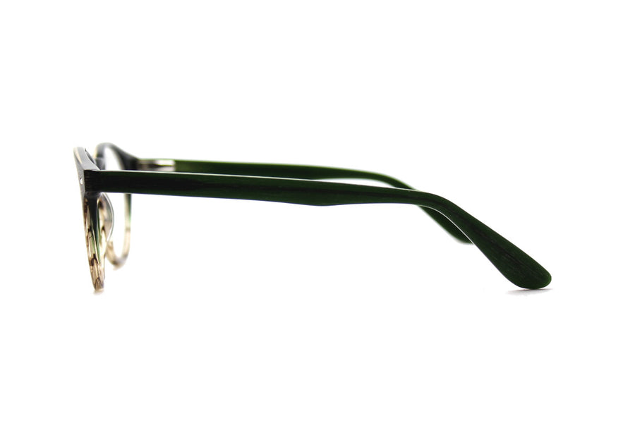 Blake glasses frames by Mr Foureyes, acetate frames in green forest tones, side shot