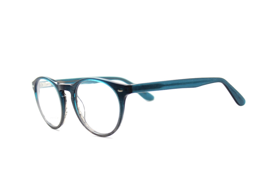 Blake glasses frames by Mr Foureyes, acetate frames in blue and ocean tones, angle shot