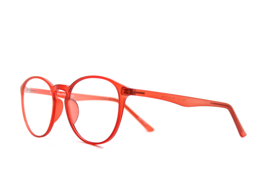 Braxton colourful round acetate glasses frames by Mr Foureyes, colour orange, angle shot