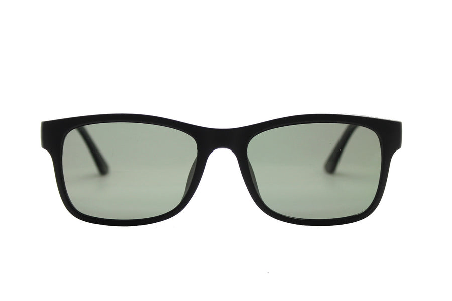 Brett clip-on prescription sunglasses by Mr Foureyes front shot with grey polarised lenses