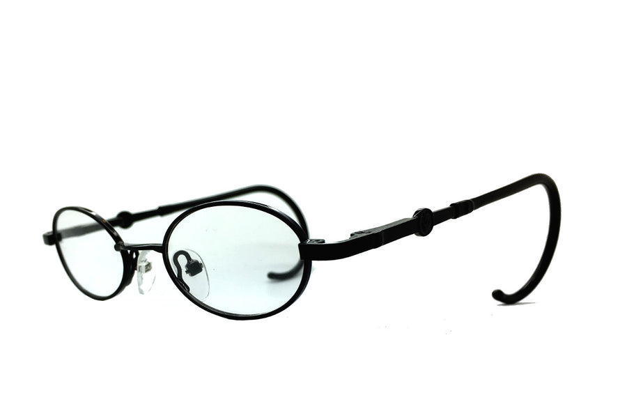 Carter children's glasses frames by Mr Foureyes in black metal, angle shot