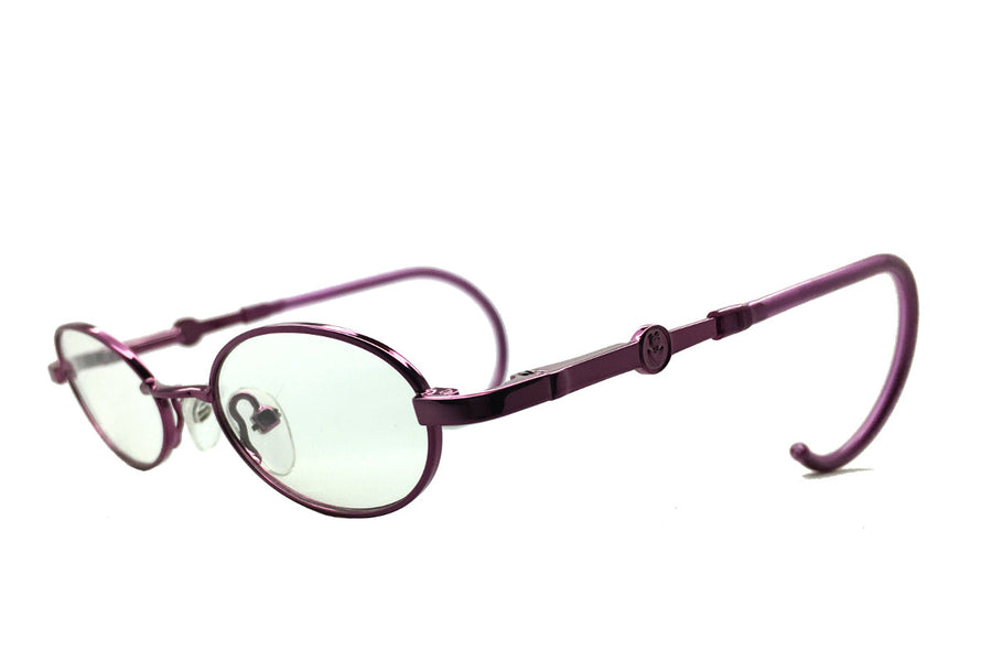 Carter children's glasses frames by Mr Foureyes in purple metal, angle shot